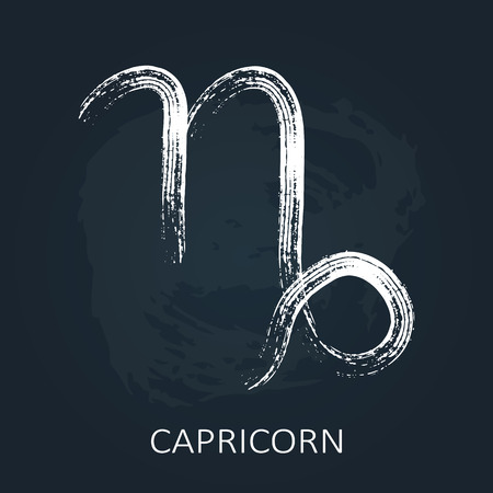 Zodiac sign Capricorn isolated on chalkboard background. Design element for horoscope and astrological forecast.