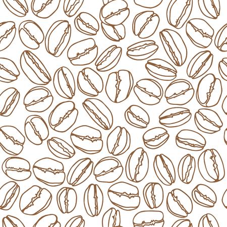 Grains de café sur fond blanc. Modèle sans couture pour les impressions textiles, les emballages cadeaux ou le papier peint.