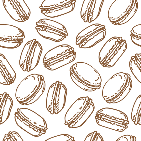 Macaroons on white background. Seamless pattern for textile prints, gift wrap or wallpaper. 矢量图像
