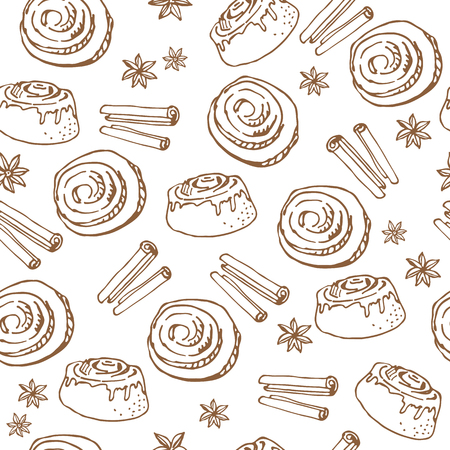 Cinnamon buns on white background. Seamless pattern for textile prints, gift wrap or wallpaper.