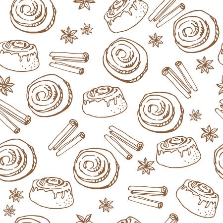 Zimtschnecken auf weißem Hintergrund. Nahtloses Muster für Textildrucke, Geschenkpapier oder Tapeten.
