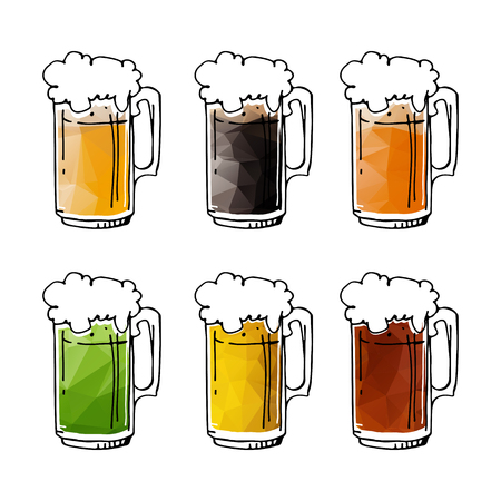 Hand drawn beer mugs isolated on white background. Design elements beer menu for restaurant or bar.