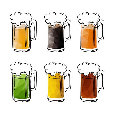 Jarras de cerveza dibujadas a mano aisladas sobre fondo blanco. Menú de cerveza de elementos de diseño para restaurante o bar.