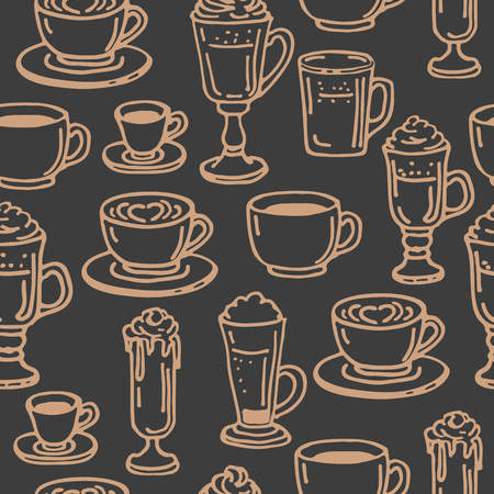 Coffee cups on dark background. Seamless pattern for textile prints, gift wrap or wallpaper.