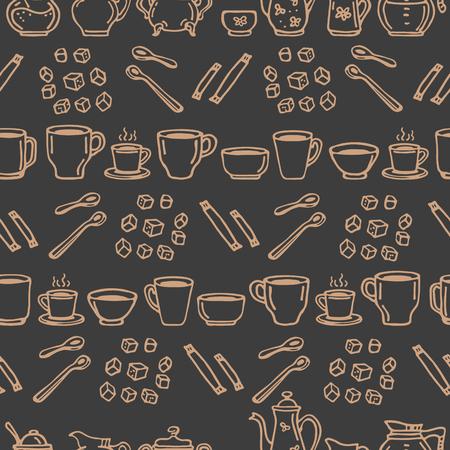 Tasses à café sur fond sombre. Modèle sans couture pour impressions textiles, papier cadeau ou papier peint. Vecteurs