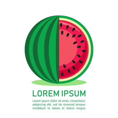 Yummy watermelon slice isolated on white background. Flat design template. Fruit illustration with text frame.