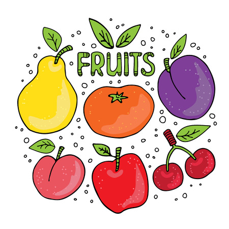 Hand drawn fruits set on white background. Doodle style. Design elements for gift wrap or fabric.  イラスト・ベクター素材