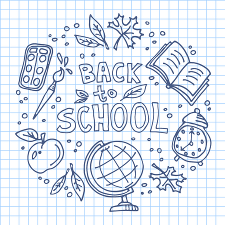 Concept of education. School background with hand drawn school symbols with Back to School lettering. 向量圖像
