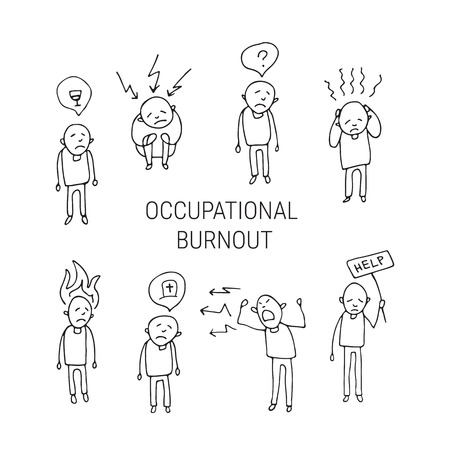 Occupational burnout syndrome symbols. Set of people. Doodle style. Design elements for brochures or web publication.