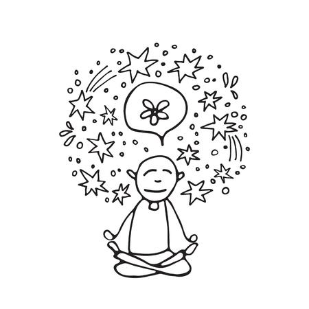 Mental health symbol � meditation. Occupational burnout prevention. Doodle style. Design elements for brochures or web publication.