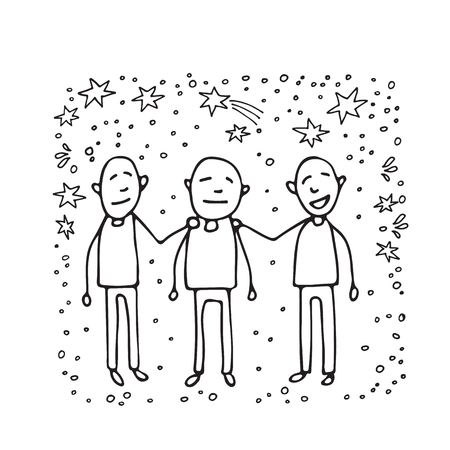 Mental health symbol – friendly support. Occupational burnout prevention. Doodle style. Design elements for brochures or web publication.