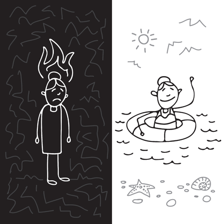Occupational burnout syndrome symbol and mental health prevention. Set of people. Doodle style. Design elements for brochures or web publication.