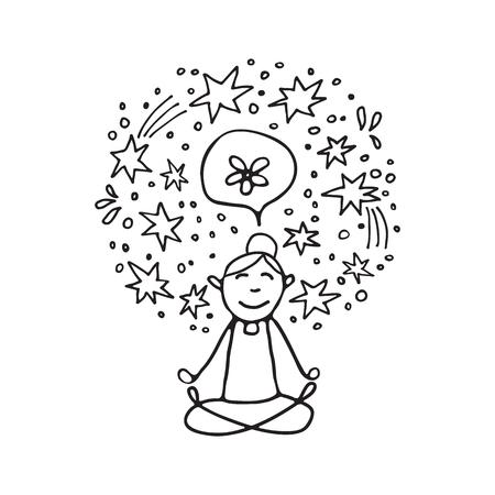 Mental health symbol – meditation. Occupational burnout prevention. Doodle style. Design elements for brochures or web publication. Illustration