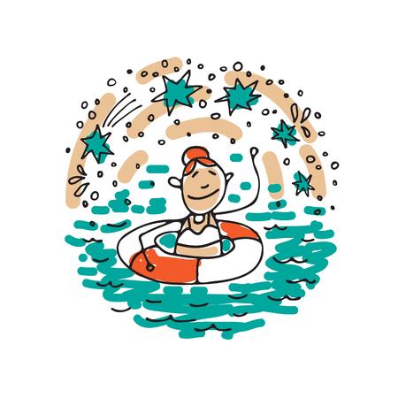 Símbolo de salud mental - natación. Prevención del desgaste laboral. Estilo Doodle. Elementos de diseño para folletos o publicación web.