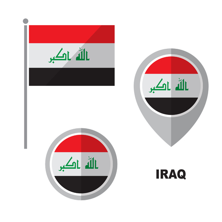 Iraq flag and map pointer isolated on white background. Republic of Iraq national symbol. Vector flat design collection.