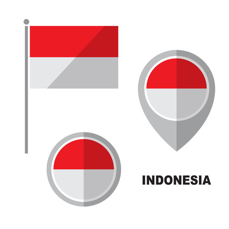 Indonesia flag and map pointer isolated on white background. Republic of Indonesia  national symbol. Vector flat design collection. Illustration