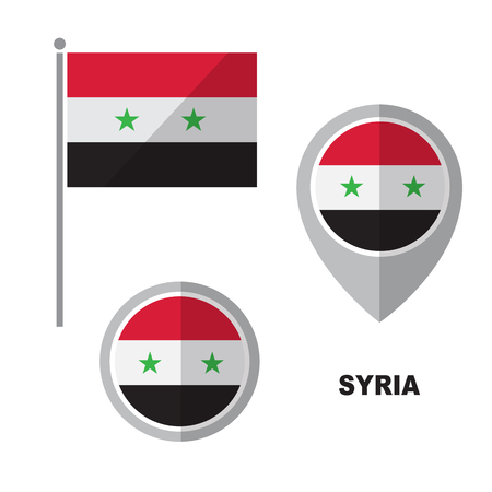 Syria flag and map pointer isolated on white background. Syrian Arab Republic  national symbol. Vector flat design collection. Ilustração
