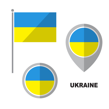 Ukraine flag and map pointer isolated on white background. Official national symbol. Vector flat design collection.
