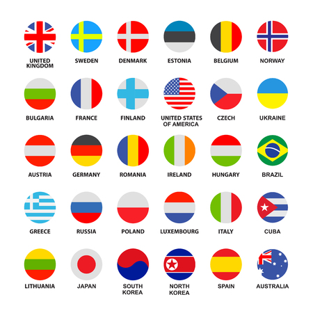 Set of official world flags isolated on white background. Flat vector collection.