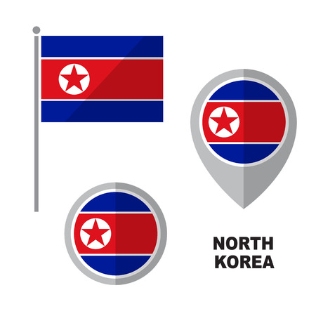 North Korea flag and map pointer isolated on white background. Democratic Peoples Republic of Korea national symbol. Vector flat design collection.
