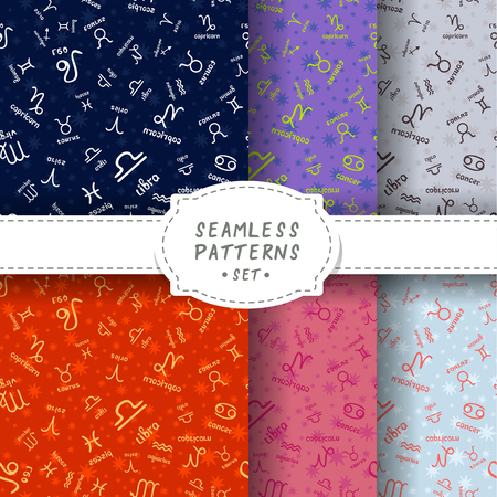 Seamless patterns set with zodiac signs. Design element for wallpaper, wrapping paper, textile prints and etc.