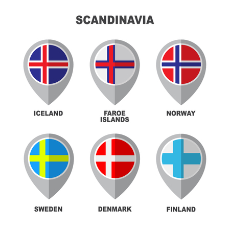 Set of Scandinavian flags isolated on white background. Finland, Iceland, Faroe Islands, Norway, Sweden and Denmark national symbols. Vector flat design collection. Ilustracje wektorowe