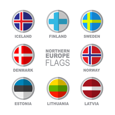 Set of Scandinavian flags isolated on white background. Finland, Iceland, Greenland, Norway, Aland Islands, Faroe Islands, Sweden and Denmark national symbols. Vector flat design collection.