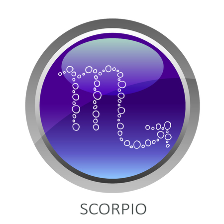 Botón ultra violeta con el signo del zodíaco Escorpio aislado sobre fondo blanco. Elemento de diseño para sitios web o tarjetas de felicitación. Ilustración de vector