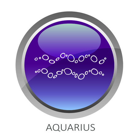 Ultra violet button with zodiac sign Aquarius isolated on white background. Design element for web sites or greeting cards.