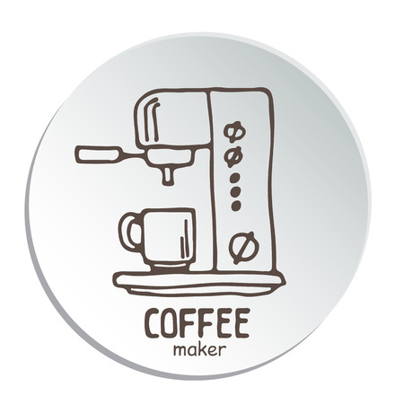 Set doodle hand getrokken schetsen geïsoleerd op een witte achtergrond. Koffiemachines en espressomachines. Ontwerpelementen voor cafémenu, vliegers en schoolborden.