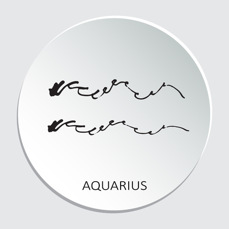 Circle frame with zodiac sign Aquarius isolated on white background. Design element for web sites or greeting cards. Illustration