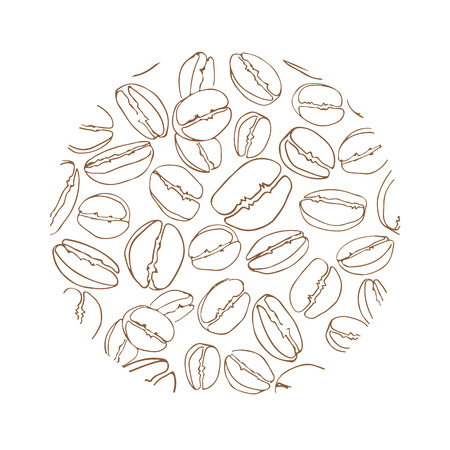 Circle coffee beans frame isolated on white background. Design element for cafe menu or coffee shops.