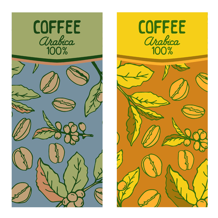 Coffee labels set isolated on white background. Design elements for coffee house or coffee shop. Template for coffee jars.