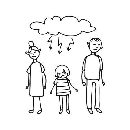 Trauriger Teenager und seine Eltern.