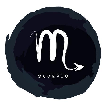 Signo del zodíaco Escorpio con marco de tinta grunge aislado sobre fondo blanco. Constelación del zodíaco. Elemento de diseño para horóscopo y pronóstico astrológico.