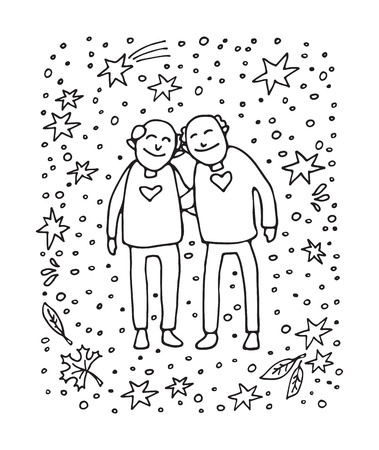 Elderly couple on white background. Gay seniors. Doodle style. Design element for leaflets or posters.
