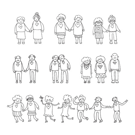 Elderly couples isolated on white background. Gay seniors. Doodle style. Design element for leaflets or posters.