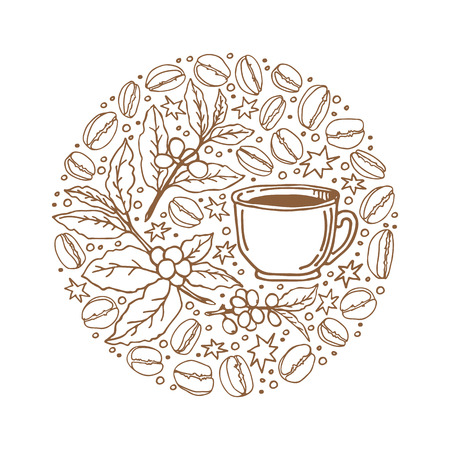 Circle frame with coffee cup isolated on white background. Doodle style. Design element for cafe menu, leaflets, stickers or magnets. Illustration