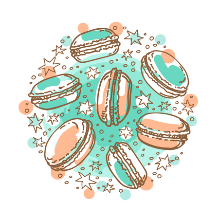 Circle frame with macaroons isolated on white background. Baked goods. Doodle style. Design element for cafe menu, leaflets, stickers or magnets.
