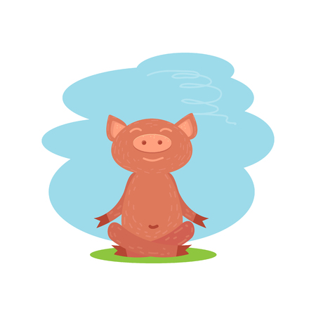 Cute funny mediator piglet on white Illustration
