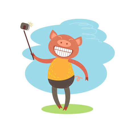 Cute funny piglet with selfie stick on white Illustration