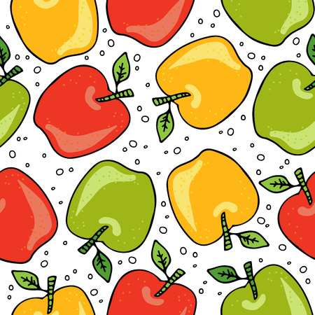 Hand drawn apples isolated on white background. Doodle style. Seamless pattern. Design element for fabric, wallpaper or gift wrap. Hand drawn style.