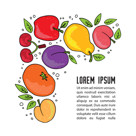Hand drawn fruits set with text frame isolated on white background. Doodle style. Design template for leaflet, booklet or cover. Hand drawn style.