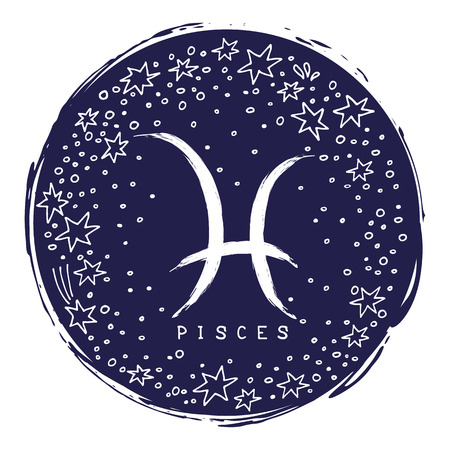 Zodiac sign Pisces isolated on white background with stars. Zodiac constellation. Design element for horoscope and astrological forecast. Doodle style. Ilustracja