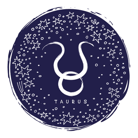 Zodiac sign Taurus isolated on white background with stars. Zodiac constellation. Design element for horoscope and astrological forecast. Doodle style.