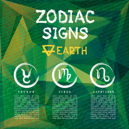 Zodiac signs according to Earth element: Taurus, Virgo, Capricorn. Zodiac constellations. Template for horoscope and astrological forecast.