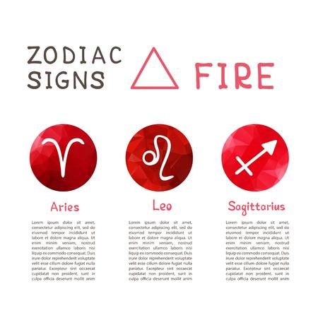 Sternzeichen nach Feuerelement: Widder, Löwe, Schütze. Sternzeichen Konstellationen. Vorlage für Horoskop und astrologische Vorhersage. Vektorgrafik