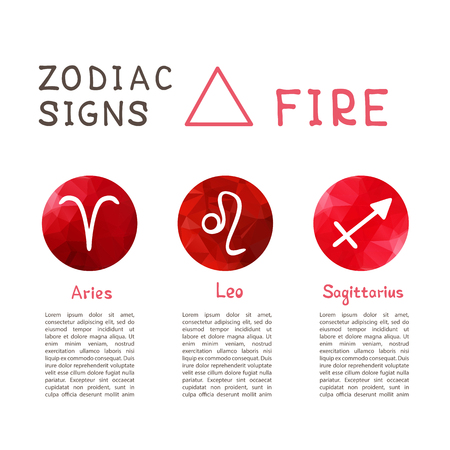 Zodiac signs according to Fire element: Aries, Leo, Sagittarius. Zodiac constellations. Template for horoscope and astrological forecast. Illustration
