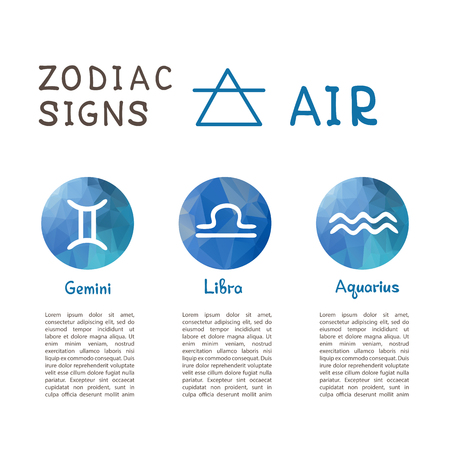 Zodiac signs according to Air element: Gemini, Libra, Aquarius. Zodiac constellations. Template for horoscope and astrological forecast.