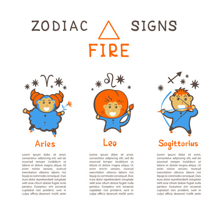 Zodiac signs according to Fire element: Aries, Leo, Sagittarius. Zodiac constellations. Template for horoscope and astrological forecast. Cartoon horoscope characters.